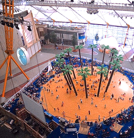 Indoor beach for O2
